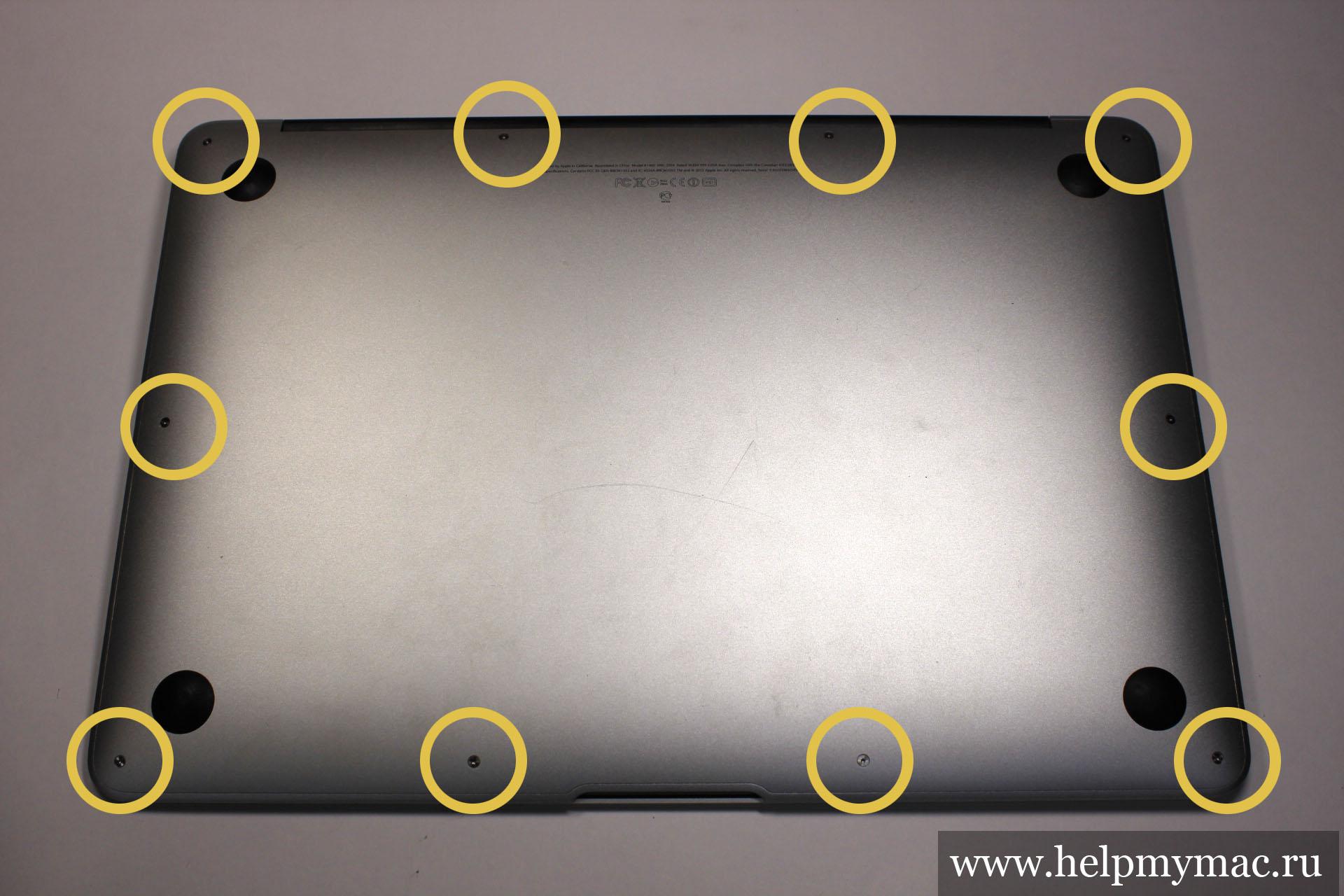 Нижняя крышка MacBook Air прикручена на 10 винтов Pentalobe